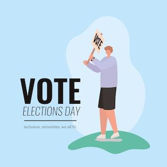 Мультфильм человек с дизайном плаката голосования, день выборов голосования