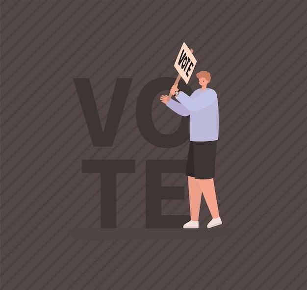 Мультфильм человек с плакатом голосования на сером фоне дизайна, день выборов голосования