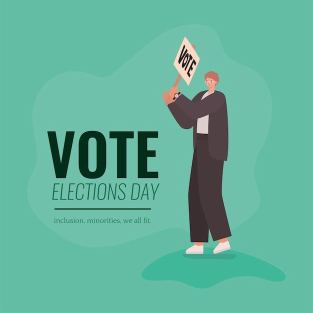 Мультфильм человек с плакатом голосования на зеленом фоне дизайн, день выборов голосования