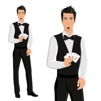 Man casino dealer portrait