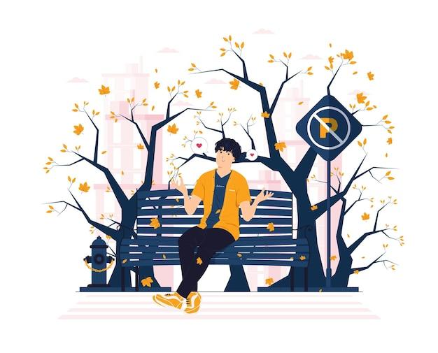 가을 날 개념 삽화에 공원 의자에 앉아 있는 동안 떨어지는 낙엽을 잡는 남자