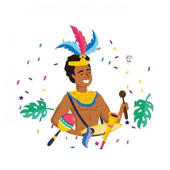 Man celebrating brazil carnival vector illustration