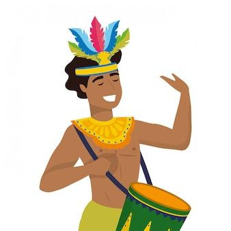 Man celebrating brazil carnival vector illustration