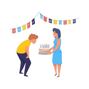 Человек празднует свой день рождения, задувая свечи плоские изолированные иллюстрации