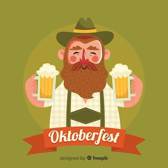 Man celebrating oktoberfest with flat design