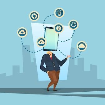 Man cell smart phone head social network communication