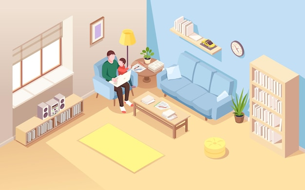 Man on chair with kid doing remote work at notebook isometric view on living room with freelancer