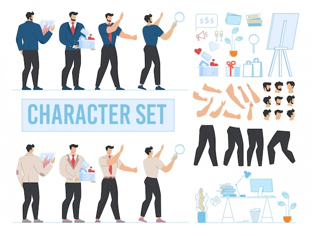 Man character animated, office and accessories set