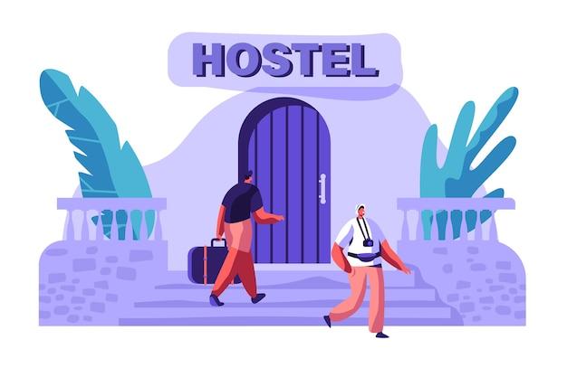 남자 캐릭터가 가방과 함께 호스텔 건물에 도착합니다. 국제 여행 개념. 카메라 밖에 서 걷는 관광. 휴일 플랫 만화 벡터 일러스트 레이 션을위한 사람들 예약 호텔
