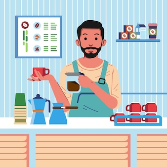 カップとコーヒーのポットを保持するバリスタとしての男のキャラクター