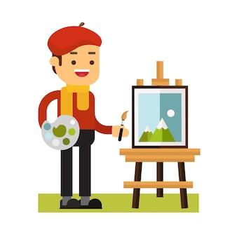 マンキャラクターアバターアイコン。アーティストは絵を描く