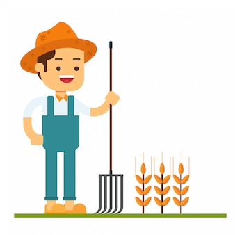 Man character avatar icon.caucasian farmer in summer hat standing with a pitchfork