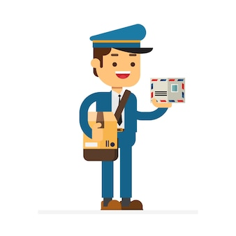Man character avatar icon.cheerful postman
