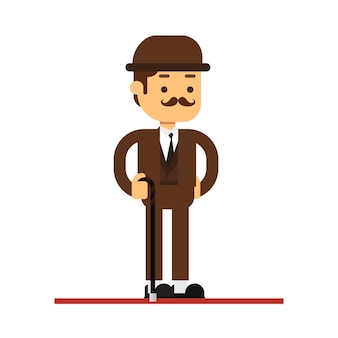 Man character avatar icon.gentleman with cane wearing brown tweed costume and bowler