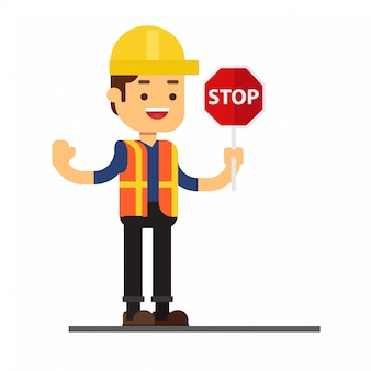 Man character avatar icon.man holding stop sign