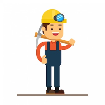 Man character avatar icon.on mine workers
