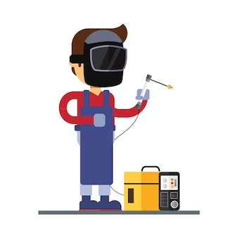Man character avatar icon. welder character