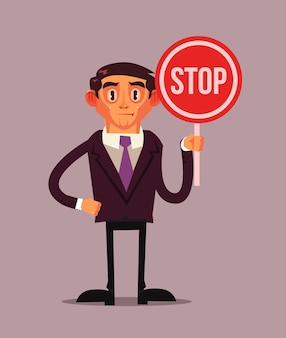 Man character in business suit holding stop red sign