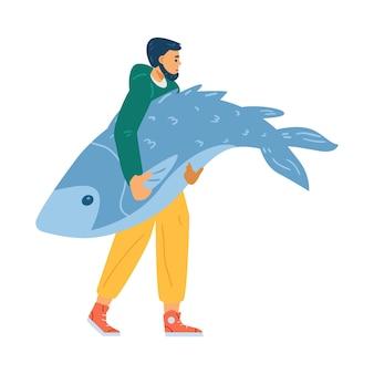 고립 된 손 평면 벡터 일러스트 레이 션에 거 대 한 물고기를 들고 남자 캐릭터