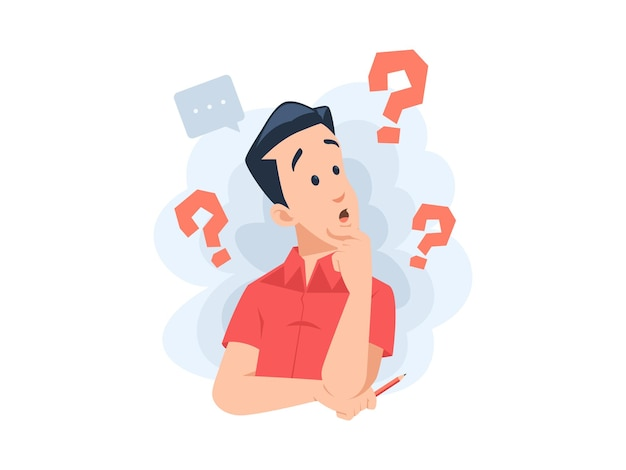 Man character confuse with question mark concept illustration in flat design