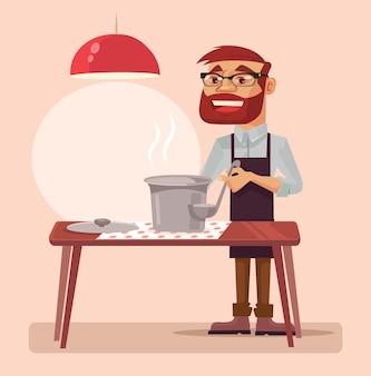 男性キャラクターの料理スープ。