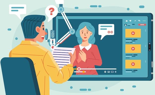 젊은 여자와 태블릿에서 화상 통화를 통해 온라인 인터뷰 팟 캐스트를하는 남자 캐릭터