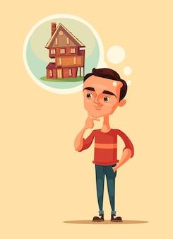 Мужчина персонаж мечтает о доме.