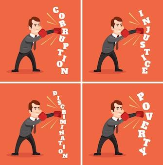 Человек персонаж борется с несправедливостью плоский мультфильм иллюстрации