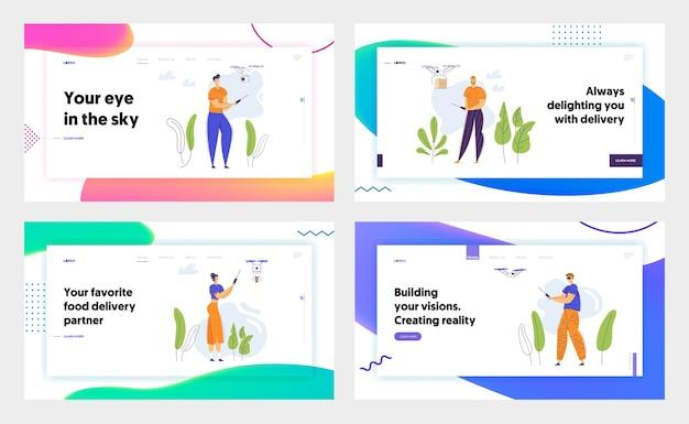 リモコンのランディングページを備えた男性キャラクターフライングドローン。ビデオフォトカメラフライトガジェットテクノロジー。エアドローンバナー、ウェブサイトを制御する男性女性。