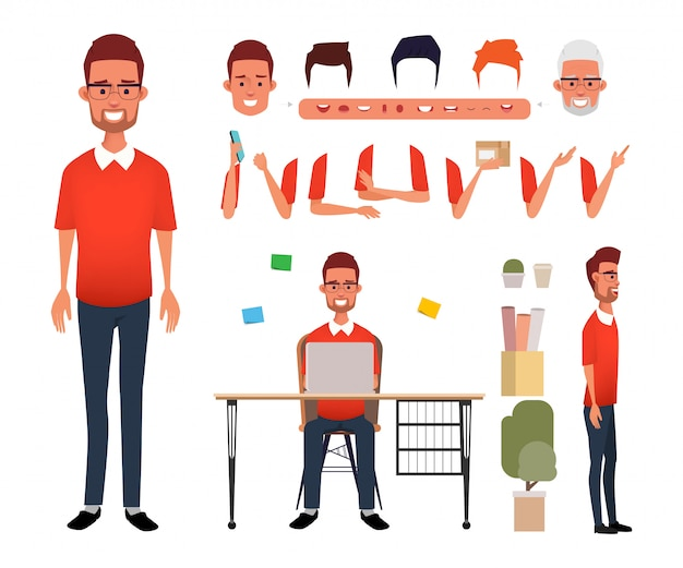 Man character freelance job creation for animation mouth.