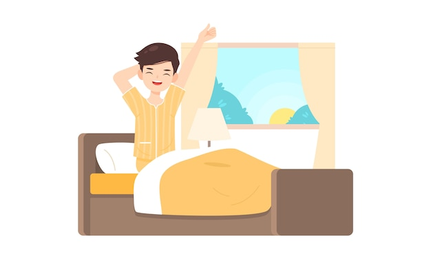 Man character get up on bed room in the morning