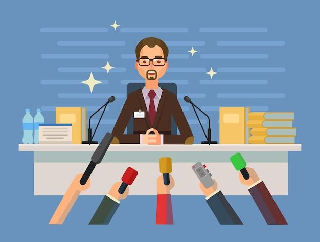 記者会見を与える男のキャラクター