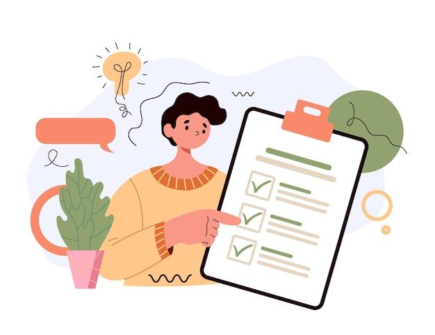 リストと計画プロジェクトを行うためのチェックリストとクリップボードを保持している男のキャラクター