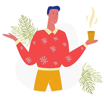 Man character holding cup with hot beverage, xmas