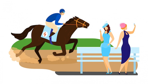 Man character horse ride, running tournament competition stallion racing isolated on white, cartoon illustration.