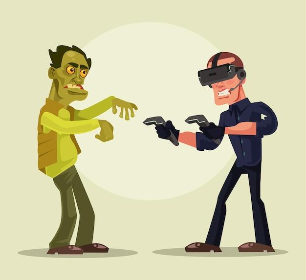 Человек-персонаж в очках виртуальной реальности борется с зомби