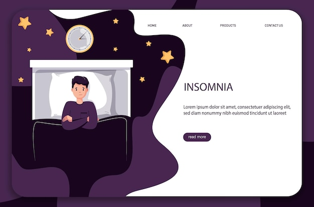 Man character lying in bed suffers from insomnia. causes insomnia infographic.