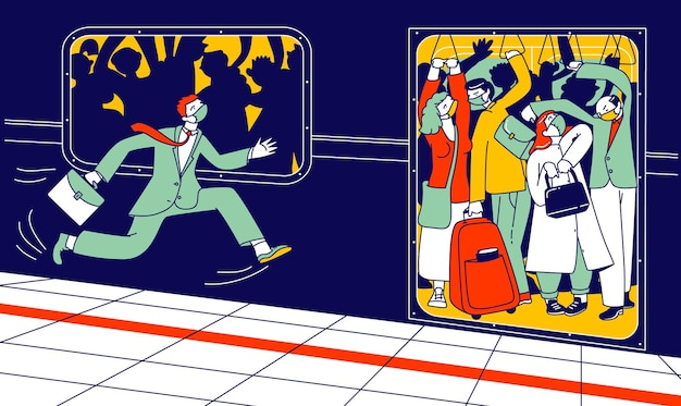 Man character in medical mask run in subway platform to crowded train in rushtime.