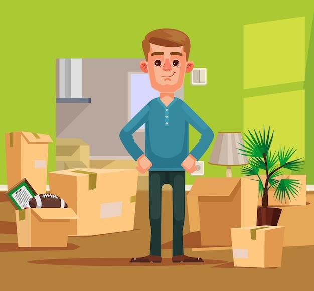 Человек персонаж переезжает в новый дом, плоская карикатура