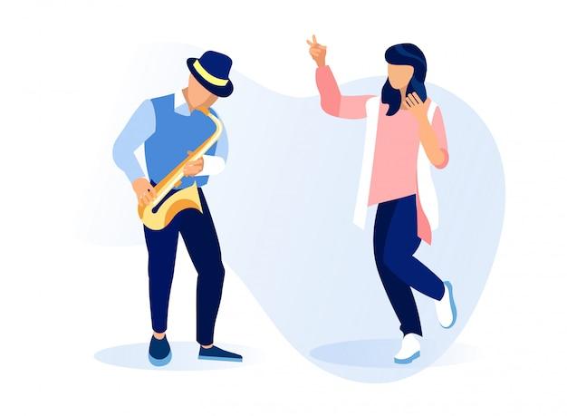 Человек персонаж играет саксофон, женщина танцует