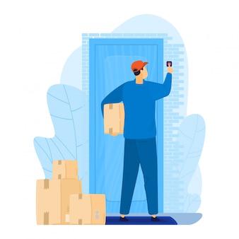 Коробка пакета владением почтальона характера человека, срочная поставка к дому двери изолированному на белизне, иллюстрации шаржа. онлайн интернет заказ.