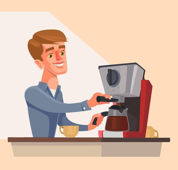 朝のコーヒーを準備する男のキャラクター