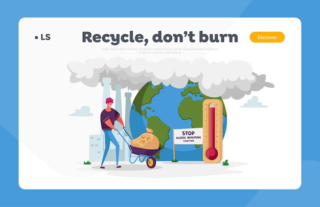 Man character pushing wheelbarrow with garbage sack with recycling sign