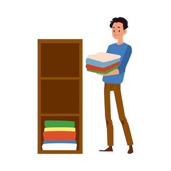 男性キャラクターは、妻の家事を手伝う場所に新鮮な洗濯物を置きます-。現代の社会人の義務。