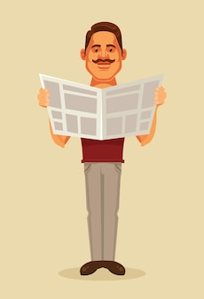 Man character reading newspaper.  flat cartoon illustration