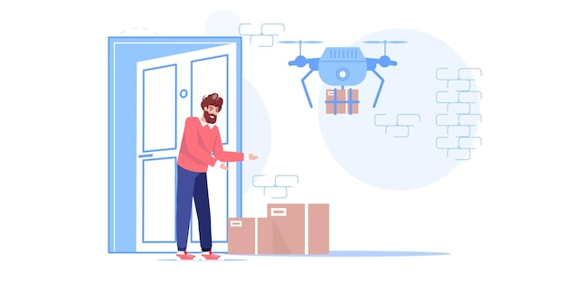 Человек-персонаж получает онлайн-заказы от дронов доставки