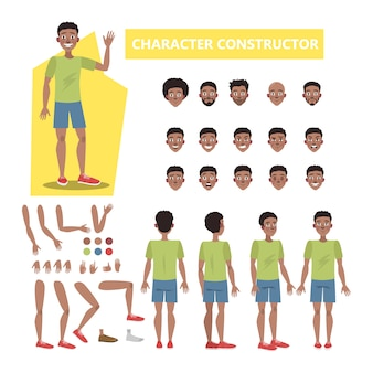 Man character set for animation with various views