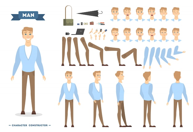 Man character set with poses and emotions.