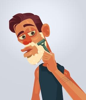 男性キャラクターのひげそり顔