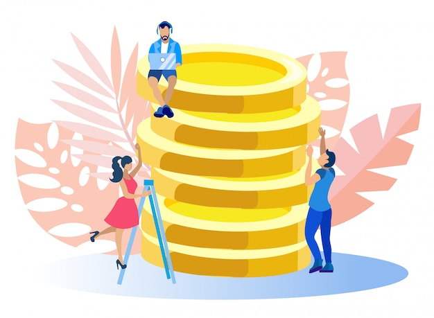 Man character sittings on gold coins, freelance.
